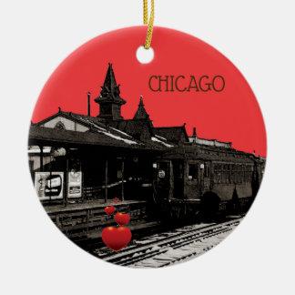 Chicago L 1950 Watercolor Sepia Photograph Subway Christmas Ornament