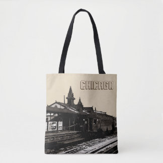Chicago L 1950 Watercolor Sepia Photograph Subway Tote Bag