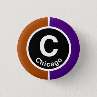 Chicago L Chicago Brown/Purple Line 3 Cm Round Badge