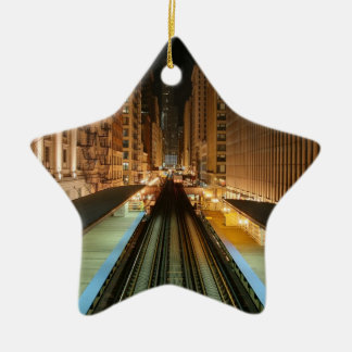 Chicago 'L' Station at Night Christmas Ornament