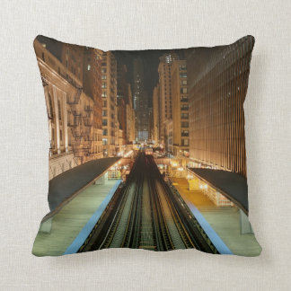 Chicago 'L' Station at Night Cushion