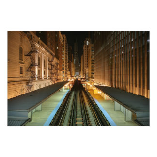 Chicago 'L' Station at Night Photo