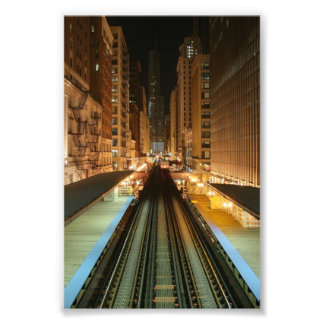 Chicago 'L' Station at Night Photo Print