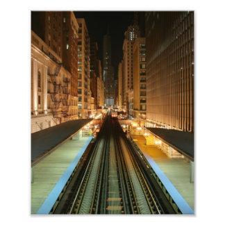 Chicago L Station at Night Photo Print