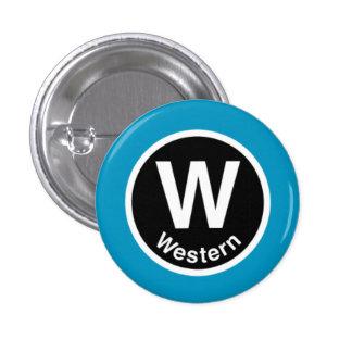 Chicago L Western Blue Line 3 Cm Round Badge