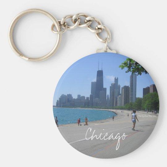 Chicago Lakeshore Basic Round Button Key Ring