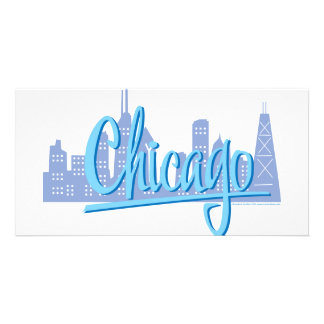 CHICAGO-Light-Blue Personalized Photo Card