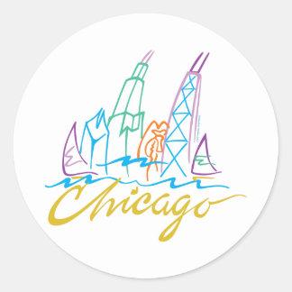 Chicago Line Syline Classic Round Sticker