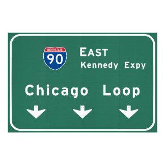 Chicago Loop I-90 E Interstate Illinois IL Photo Art