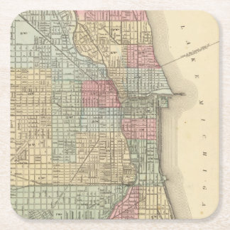 Chicago Map by Mitchell Square Paper Coaster