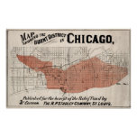 Chicago Map from 1871 after fire Restored Poster