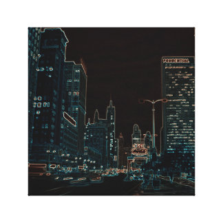 Chicago Michigan Avenue 1960's Glowing Edges Black Canvas Print