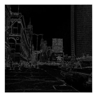 Chicago Michigan Avenue 1960's Glowing Edges Black Poster