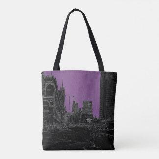 Chicago Michigan Avenue 1960's Glowing Edges Black Tote Bag