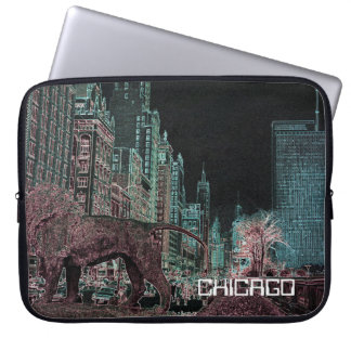 CHICAGO MICHIGAN AVENUE @ ART MUSEUM 1967 NEON LAPTOP SLEEVE