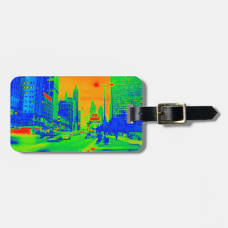 Chicago Michigan Avenue @ Night 1967 Neon Colorful Luggage Tag
