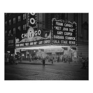Chicago Movie Theater, 1941. Vintage Photo Poster