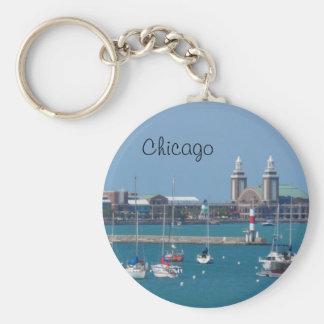Chicago Navy Pier Basic Round Button Key Ring