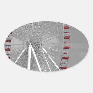 Chicago Navy Pier Ferris Wheel Oval Sticker