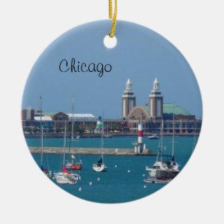 Chicago Navy Pier Round Ceramic Decoration