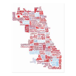Chicago Neighborhood Map Postcard