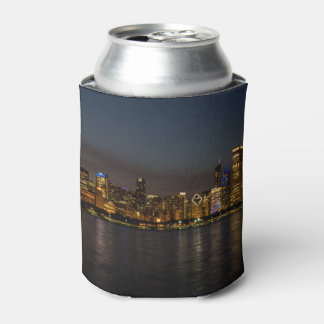 Chicago Night Cityscape Can Cooler
