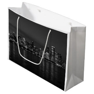 Chicago Night Cityscape Grayscale Large Gift Bag