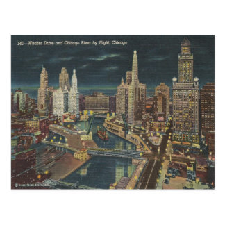 Chicago Night Skyline Postcard