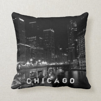 Chicago Night View Black & White Cushion