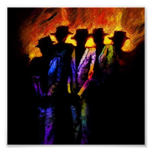 Chicago nights on canvas poster