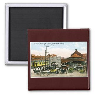 Chicago & Northwestern Railway, Des Moines, Iowa Square Magnet