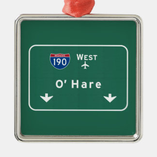 Chicago O'Hare Airport I-190 W Interstate Illinois Christmas Ornament