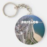 Chicago panoramic view basic round button key ring