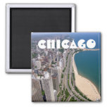Chicago panoramic view square magnet