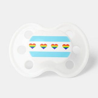 Chicago Pride Rainbow Hearts Flag Baby Pacifier