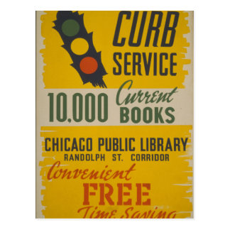 Chicago Public Library Curb Service Postcard