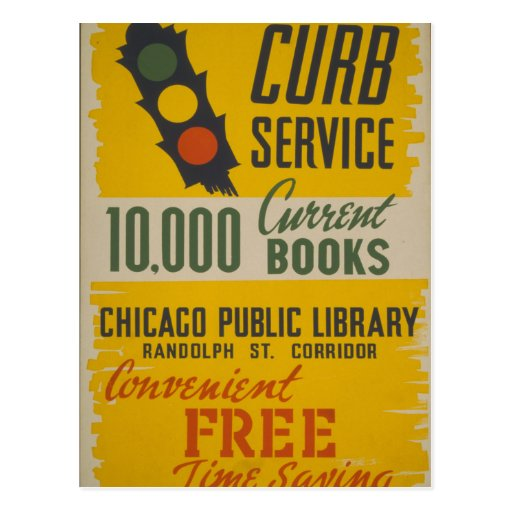 Chicago Public Library Curb Service Post Card