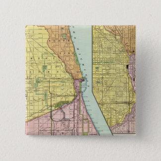 Chicago Railway Terminal Map 15 Cm Square Badge