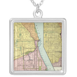 Chicago Railway Terminal Map Silver Plated Necklace