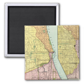 Chicago Railway Terminal Map Square Magnet