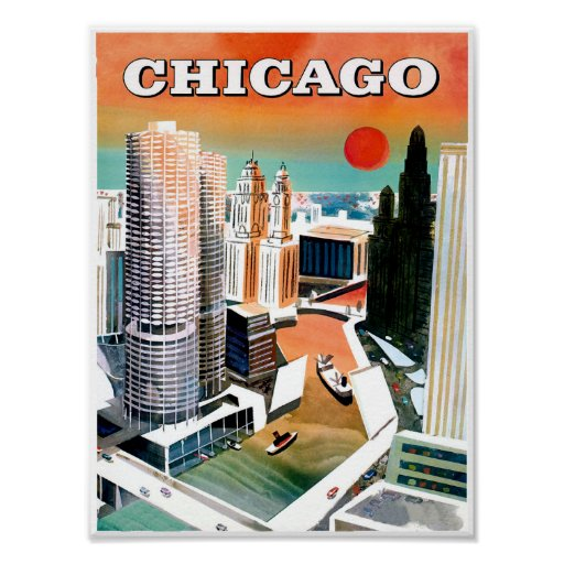 Chicago. Retro Style Travel poster