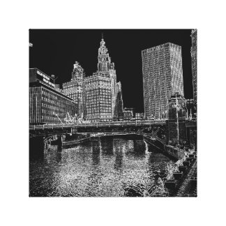 Chicago River 1967 Wrigley Building Sun Times Bldg Canvas Print