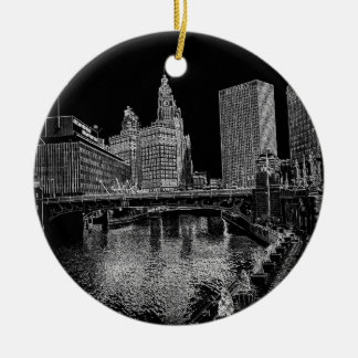 Chicago River 1967 Wrigley Building Sun Times Bldg Christmas Ornament