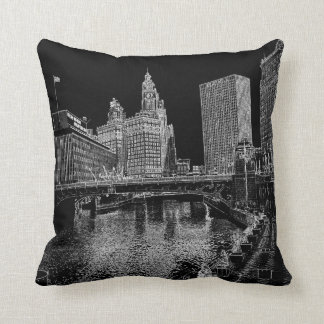 Chicago River 1967 Wrigley Building Sun Times Bldg Cushion