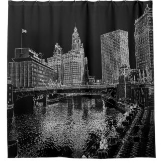 Chicago River 1967 Wrigley Building Sun Times Bldg Shower Curtain