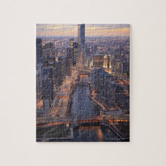 Chicago River and Trump Tower from above Jigsaw Puzzle