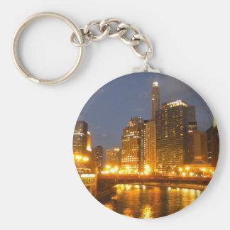 Chicago River at night Key Ring