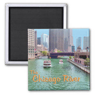 Chicago River At The Merchandise Mart Square Magnet