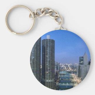 Chicago River Basic Round Button Key Ring