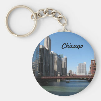 Chicago River Basic Round Button Key Ring
